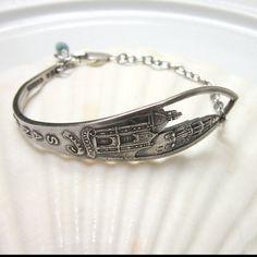 San Diego sterling silver spoon bracelet- silverware jewelry on Etsy, $40.00