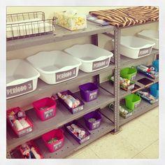 Interactive Notebook storage + supplies in a high school Spanish classroom.