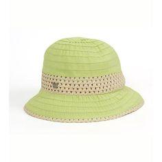 Green Grosgrain & Ribbon Straw Cloche Hat