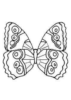 Un papillon avec des ailes à joli motif, à colorier