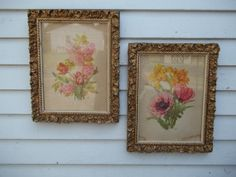 Vintage Set of Two Antique Ornate Wood Gesso Gold by ssmith7157, $62.99