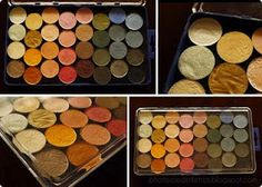 DIY Eyeshadow Palettes. So smart!....I totally did this a couple days ago. It was super easy and I only spent $25 to make 3 large palettes!