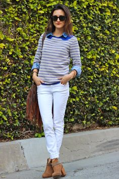 striped sweater__chambray button down__white skinny jeans__winter white__tan booties