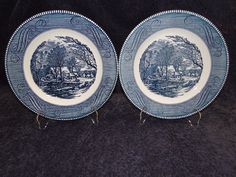 "Currier Ives Royal China Blue and White Dinner Plate Old Grist Mill 10"" TWO 2 in Pottery & Glass, Pottery & China, China & Dinnerware 