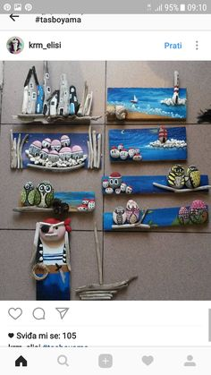 Stone and driftwood art Sea Crafts, Tile Crafts, Seashell Crafts, Rock Crafts, Arts And Crafts, Nature Crafts, Pebble Painting, Pebble Art, Stone Painting