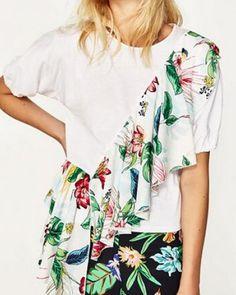 4687fb158c45d Flower ruffle t shirt asymmetrical tops for women Frill Shorts