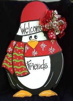 Penguin door hanger christmas door hanger by Angelascreativecraft Christmas Yard Art, Christmas Wood Crafts, Christmas Canvas, Christmas Paintings, Christmas Signs, Holiday Crafts, Christmas Decorations, Christmas Ornaments, Holiday Signs