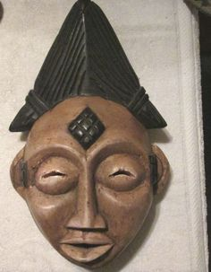 Antique Carved Wood Aboriginal  Gabon Punu Maiden Tribal Mask #