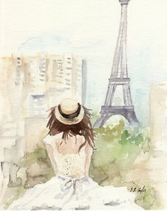 Original Watercolor Figure Painting A View of Eiffel Tower by Elise Engh Eiffel Tower Painting, Watercolor Girl, Paris Illustration, Paris Wallpaper, Figure Painting, Painting, Watercolour Inspiration, Original Watercolors, Paris Girl