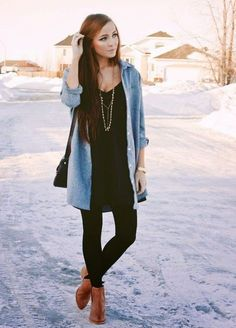 Clothes Super Skirt With Tights Outfit Winter Leggings Ideas What Do The Insulated Flame Resista Winter Leggings, Tights Outfit Winter, Ankle Boots With Leggings, Fall Tights, Casual Winter Outfits, Fall Outfits, Leather Leggings, Fall Dresses, Booties Outfit