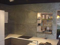 Slate veneer sheets kitchen wall cladding