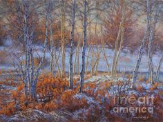 'Birches in First Snow 1', pastel painting by Fiona Craig, is also available in prints of various sizes and styles. See also www.fionacraig.com