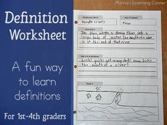 Free Definition Printable Worksheet - 1st through 4th grade | Free Homeschool Deals ©