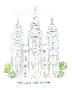 """Salt Lake City Temple  LDS Temple  Watercolor by alexazdesign, $10.00  - MormonFavorites.com  """"I cannot believe how many LDS resources I found... It's about time someone thought of this!""""   - MormonFavorites.com"""