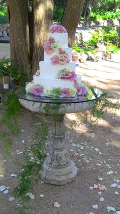 garden wedding idea/just a thought but at least a month before the wedding don't put any water in it. Wouldn't want the birds showing up on the cake !