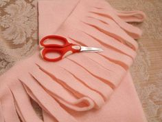 Technique :: How to cut fleece material into yarn; can really use just about any fabric.    #crochet