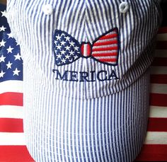 south-carolina-southern-belle: My seersucker Jadelynn Brooke hat! #merica