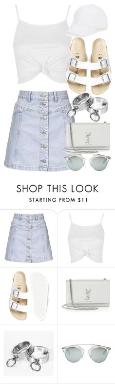 """Untitled #2700"" by elenaday ❤ liked on Polyvore featuring Topshop, Birkenstock, Yves Saint Laurent, Christian Dior and Talbots"
