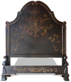 TUSCAN BAROQUE VERONICA BED - HAND PAINTED IN FRENCH BLACK CRACKLED WITH SCROLLS Dimensions W 64 x L 82 x H