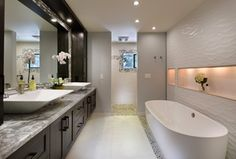 Contemporary Master Bathroom with Freestanding, Flat panel cabinets, Vessel sink, Master bathroom, Double sink, Ceramic Tile