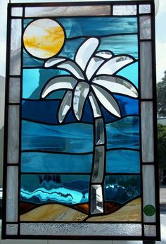 Stained glass beveled palm - by Luanne Kane (via Etsy) Faux Stained Glass, Stained Glass Designs, Stained Glass Projects, Stained Glass Patterns, Stained Glass Windows, Tropical Stained Glass Panels, Mosaic Art, Mosaic Glass, Rock Painting Patterns
