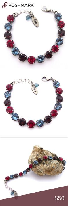 Swarovski Crystal Tennis Bracelet Red and Blue Swarovski Crystal Tennis Bracelet made with 8mm genuine Swarovski crystals in ruby red, denim blue, and burgundy. The bracelet is adjustable to 7 3/4 inches and is shown in the antique silver chain. Other popular finishes are available. Gift packaging is included. Siggy Jewelry launched in 2012 and has become a well known brand world wide with thousands of sales and glowing reviews submitted by happy customers. I look forward to working with…
