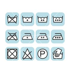 Set of instruction laundry icons care icons wash vector - by elenapro on VectorStock®