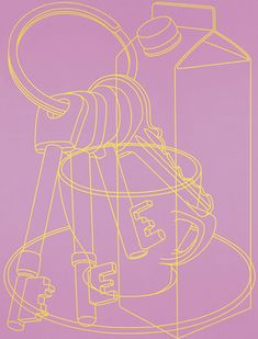 Work Pages — Michael Craig-Martin Object Drawing, Wall Drawing, Purple Umbrella, Michael Craig, Everyday Objects, Everyday Items, A Level Art, Gcse Art, Screen Printing