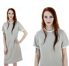 70s Mod Dress Vintage 60s Tan & White by neonthreadsdesigns, $38.00