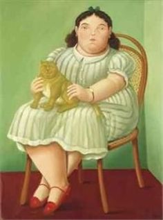 F. Botero Seated Woman with a Cat 1955