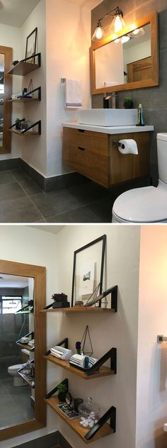 This modern bathroom features custom designed shelving, mirrors and a floating vanity. Floating Vanity, Floating Shelves, Transformers, Corridor Design, Hallway Designs, Beauty Salon Interior, Elderly Home, Modern Interior Design, Design Interiors