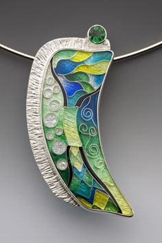 Pendant by Anna Tai.    Enamel, sterling and fine silver, and tsavorite garnet