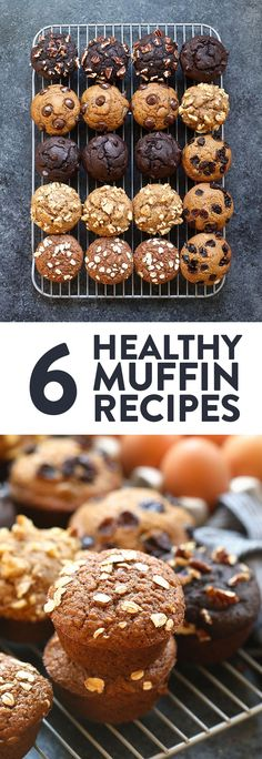 Are you a muffin queen just like us? Here& our favorite base recipe for hea. Are you a muffin queen just like us? Here& our favorite base recipe for healthy muffins + 6 different healthy muffin recipes you can make with it! Healthy Sweet Snacks, Healthy Muffin Recipes, Healthy Sweets, Healthy Breakfast Recipes, Healthy Baking, Brunch Recipes, Gourmet Recipes, Baking Recipes, Snack Recipes