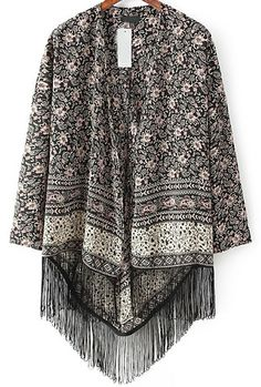 Black Cashew Print Tassel Loose Kimono 19.33