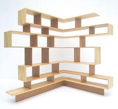Book Snake Shelf 2002 Plywood, cherry veneer, lebanese cedar veneer, pine veneer, solid cherry wood, knock-in fittings. Unique 2000 x 1400 x ...