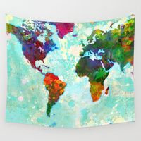 Wall Tapestries featuring Abstract Map of the World by Gary Grayson