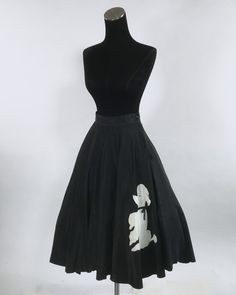 This circle skirt is made up of reverse pleats that extend from the waist down to form a very full circle skirt. The poodle is made of felt with a black ribbon collar, a googley eye, and a small sequin for the nose. 1950s Poodle Skirt, Full Circle Skirts, Black Ribbon, Sportswear, Super Cute, Sequins, Felt, Disney, Outfits