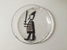 Vintage Bergdala Sweden viking glass plate // Bergdala glass studio Sweden // Viking décor // Fall autumn décor
