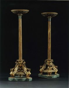 AN EXTREMELY FINE PAIR OF GILTWOOD AND FAUX BRONZE TORCHERES WITH GILT-LEAD MOUNTS PROBABLY BY JOSEF DANHAUSER Vienna. Circa 1810. Height: 47 3/4″ (121.5 cm). Diameter: 16″ (41 cm)