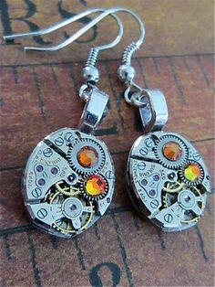Steampunk ear gear  Cathedral  Steampunk Earrings by steampunkjunq  #steampunk #earrings #jewelry #recycle