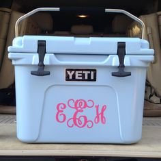 Ice Blue YETI Roadie 20 with monogram. Yeti Cooler, Cooler Box, Monogram Decal, Monogram Initials, Yeti Roadie, Blue Yeti, Construction Design, Girly Things, Monograms