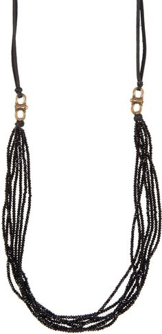 Cynthia Dugan Black Seven Strand Crystal And Leather Necklace on shopstyle.com