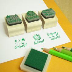 Teacher Stamps Teacher Rubber Stamp Set by skullandcrossbuns