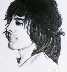 Pencil drawing of Freddie Mercury (Queen) by Gabriella Tóth