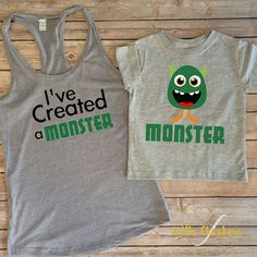 I've Created A Monster Set mommy and me mommy and me outfit Matching mommy Mommy and me shirts Mommy and son Mommy and daughter Mommy And Me Shirt, Mommy And Son, Mommy And Me Outfits, Baby Boy Outfits, Mommys Boy, Children Outfits, Baby Boy Shirts, Baby Girls, Mom Baby
