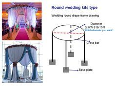 pipe and drape round indoor wedding tent