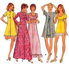 1971 High Waisted Scoop Neckline Robe, Nightgown, Shorty Nighty, Upcycle to Boho Dress Butterick 6589, Sz 12-Bust 34""