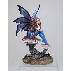 6.25 Inch Nice Blue Fairy Sitting on Mushroom Statue Figurine