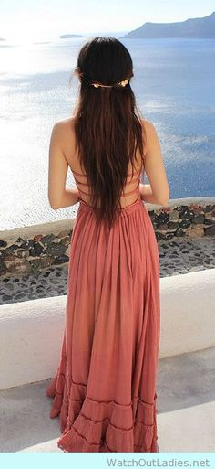 Cute and sexy maxi dress with lace up back in coral color
