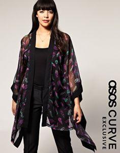 ASOS Curve Kimono in Feather Print